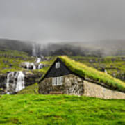 Historic Stone House With Turf Roof On Art Print