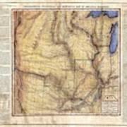Historical Map Hand Painted Arkansaws Territory Art Print