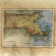 Historical Map Hand Painted Massachussets Art Print