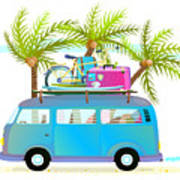 Holiday Summer Trip Bus For Beach Art Print