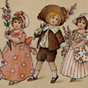 Hollyhocks, Victorian Card Art Print