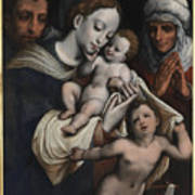 Holy Family With Elisabeth And John The Baptist  Art Print