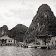 Homes On Ha Long Bay Boat People  Art Print