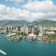 Honolulu Skyline Shot From A Helicopter Art Print