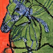 Horse On Orange And Green Art Print