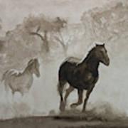 Horses In The Mist Art Print