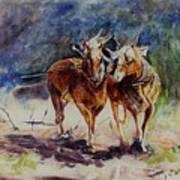 Horses On Work Art Print