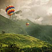 Hot Air Balloons Over Tea Plantations Art Print