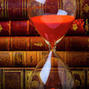 Hourglass And Old Books Art Print