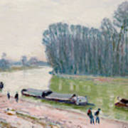 Houseboats On The River Loing Art Print