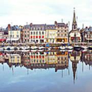 Houses Reflection In River, Honfleur Art Print