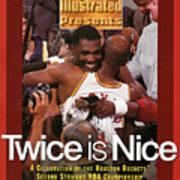Houston Rockets Hakeem Olajuwon And Clyde Drexler, 1995 Nba Sports Illustrated Cover Art Print