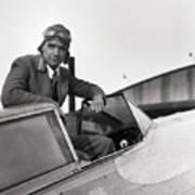 Howard Hughes Posing In Plane Cockpit Art Print
