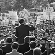 Hubert Humphrey Speaking To Crowd Art Print