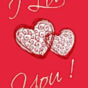I Love You Hearts Art Print