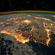 Iberian Peninsula From Space Art Print