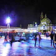 Ice Rink With Cardiff City Hall Art Print