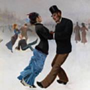 Ice Skaters, C. 1920. Artist Klinger Art Print