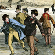 Ice Skating, 19th Century Art Print