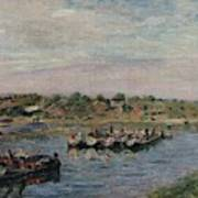 Idle Barges On The Loing Canal At Saint-mammes Art Print