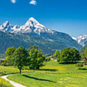 Idyllic Summer Landscape In The Alps Art Print