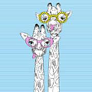 Illustration Of Giraffes In Funky Art Print