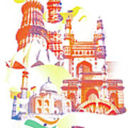 Indian Monuments Collage Art Print