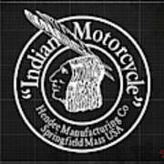 Indian Motorcycle Old Vintage Logo Blueprint Background Art Print