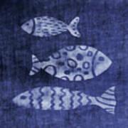 Indigo Fish- Art by Linda Woods Art Print
