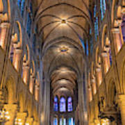 Interior Of Notre Dame De Paris Art Print