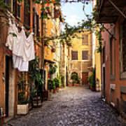 Italian Old Town Trastevere In Rome Art Print
