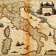 Italy Map 1635 Art Print