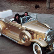 Jack Smith In Gold Plated 1931 Cadillac Art Print