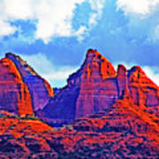 Jack's Canyon Village Of Oak Creek Arizona Sunset Red Rocks Blue Cloudy Sky 3152019 5080  Art Print