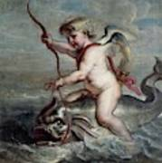 Jan Erasmus Quellinus / 'cupid On A Dolphin', Ca. 1630, Flemish School. Jan-erasmus Quellinus . Art Print