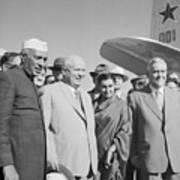 Jawaharlal Nehru And Indira Gandhi Art Print