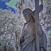 Jesus Graveyard Statue Art Print