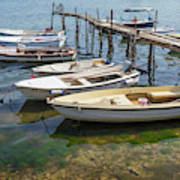 Jetty With Moored Boats.  Porec Art Print