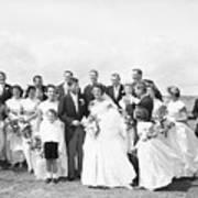 John And Jackie Kennedy On Wedding Day Art Print