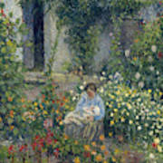 Julie And Ludovic-rodolphe Pissarro Among The Flowers, 1879 Art Print