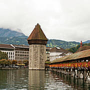 Kapellbrucke On Reuss River, Lucerne Art Print