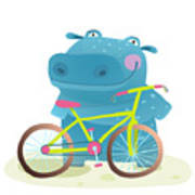 Kid Cute Hippo With Bicycle Childish Art Print
