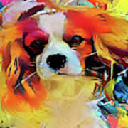 King Charles Spaniel On The Move Art Print