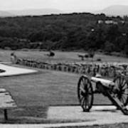 King William Artillery Marker In Black And White Gettysburg Art Print