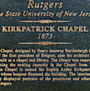 Kirkpatrick Chapel - Commemorative Plaque Art Print