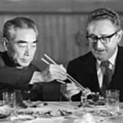 Kissinger Eating With Zhou Enlai Art Print