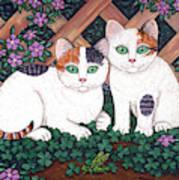 Kittens And Clover Art Print