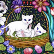 Kittens In A Basket Art Print