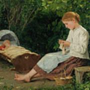 Knitting Girl Watching The Toddler Art Print