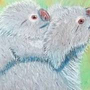 Koala With Baby - Pastel Wildlife Painting Art Print